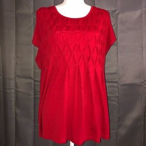Pintuck Red Plus Size Top 2X